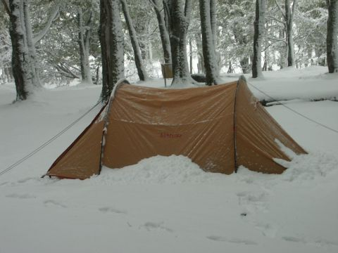 Photograph of our tent in the snow in Ushuaia Argentina Travelogues & The Truck Arrives - Argentina Travelogues